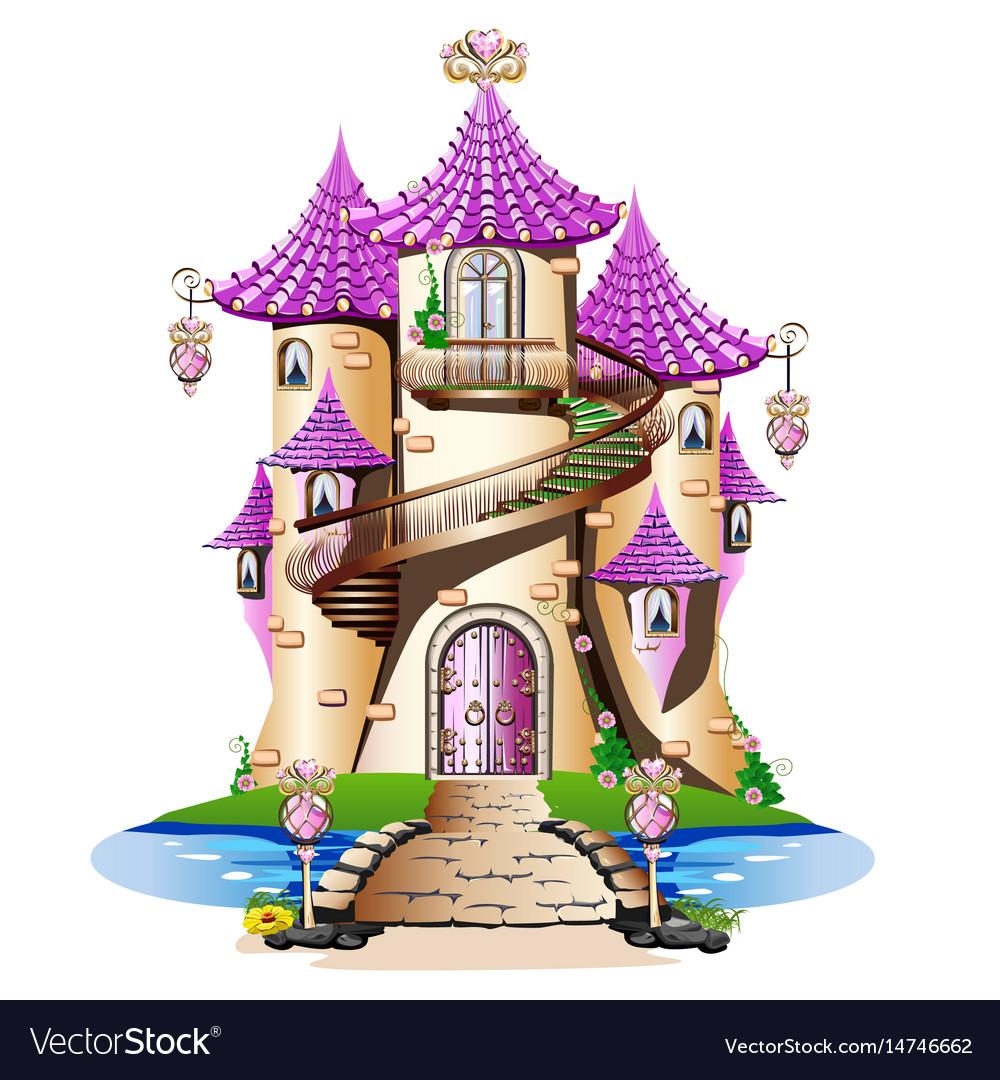 Pink fairytale castle vector image
