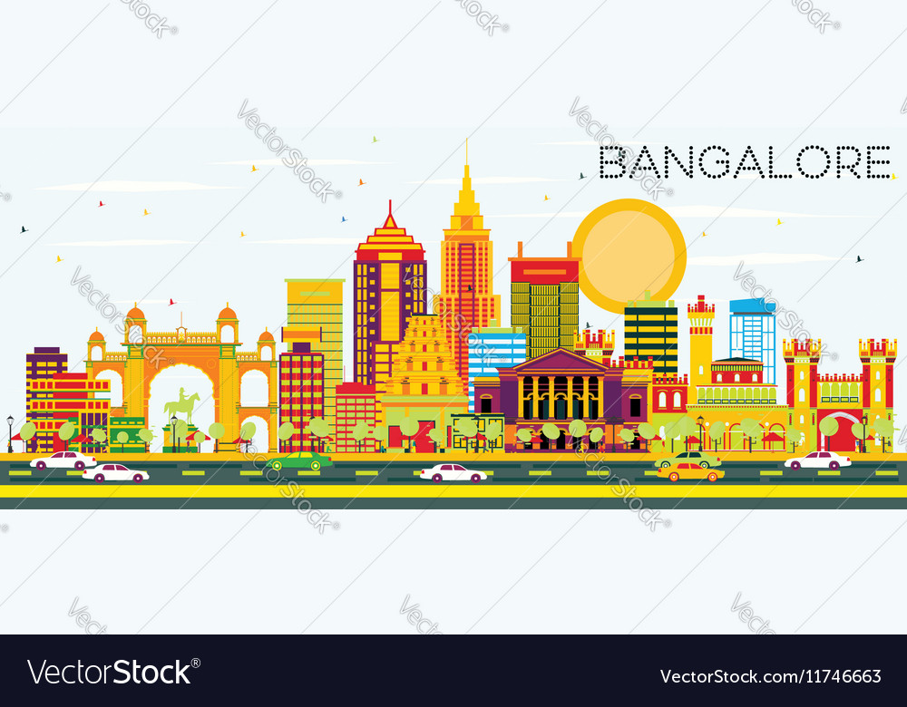 Bangalore Skyline with Color Buildings vector image