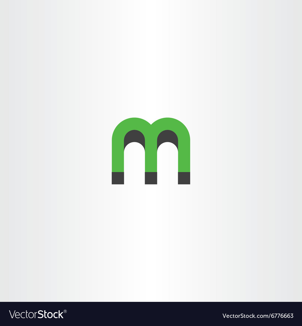 green letter m logo 3d effect royalty free vector image