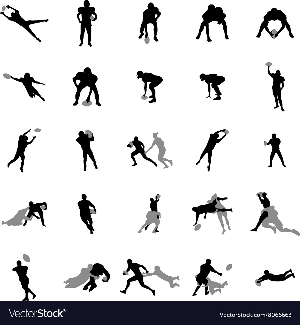 Rugby players silhouette set vector image