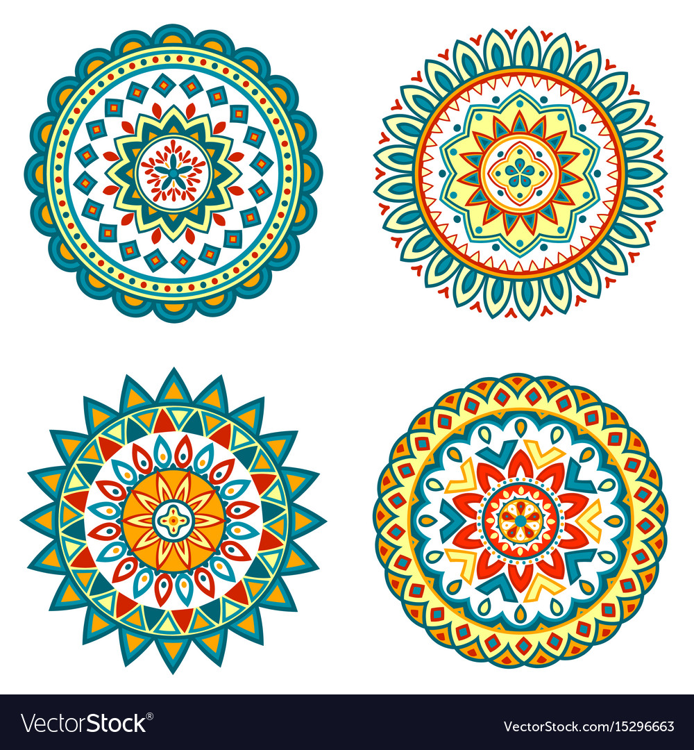 Set of colorful mandalas vector image