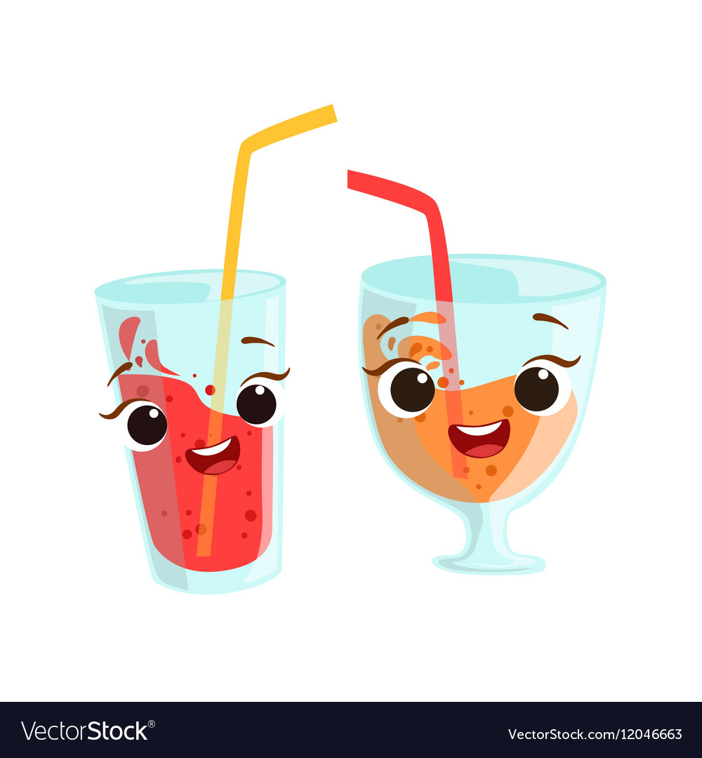 Sweet Drinks In Glasses Kids Birthday Party Happy vector image