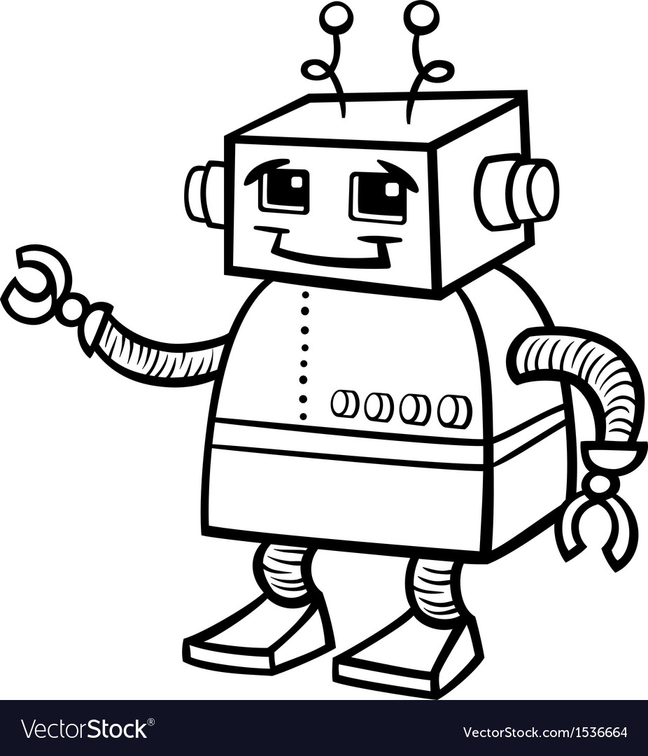 robot cartoon for coloring royalty free vector image