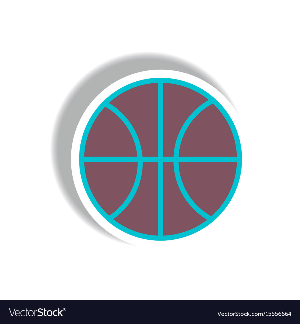 Stylish icon in paper sticker style basketball