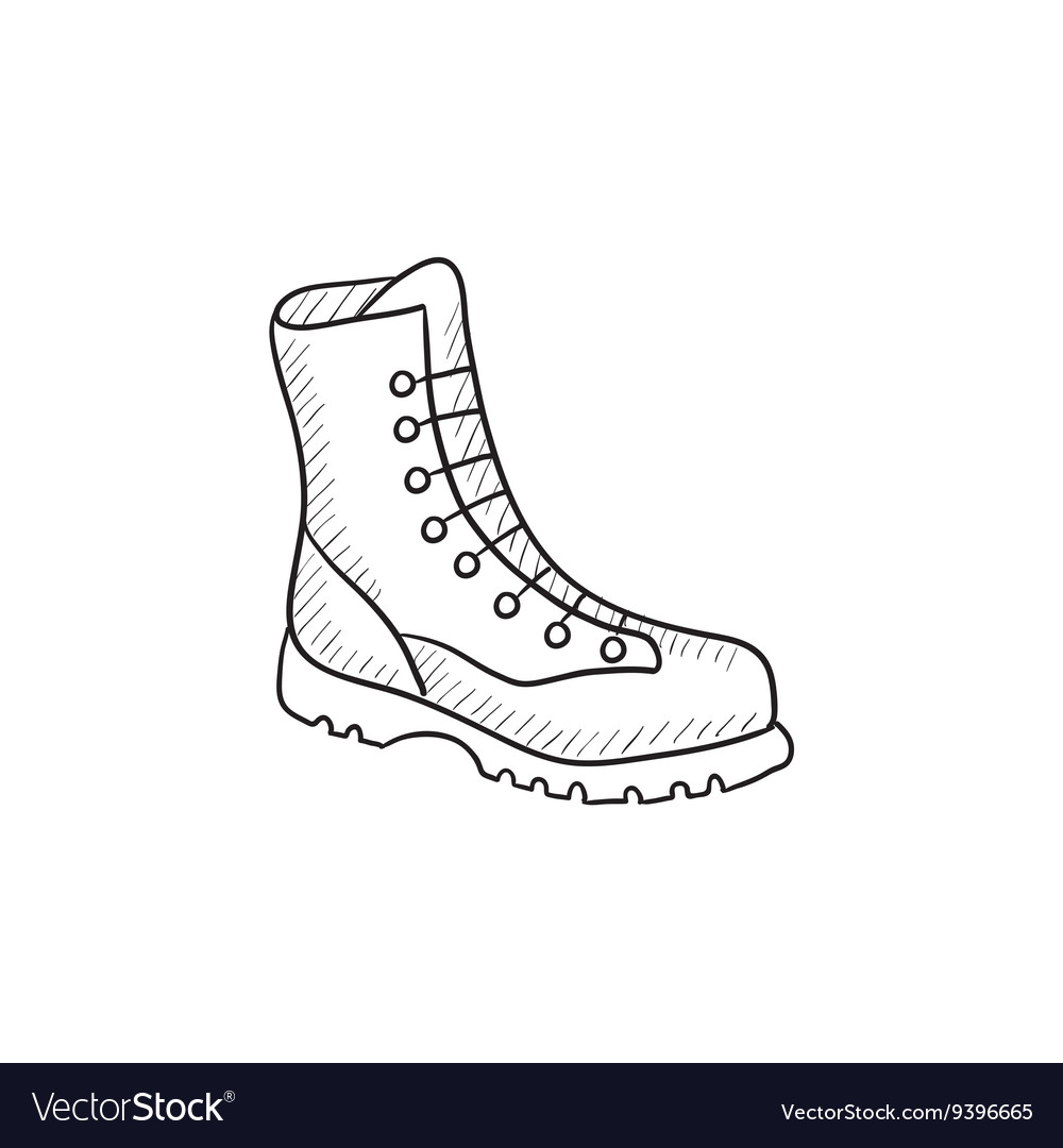 Boot with laces sketch icon vector image