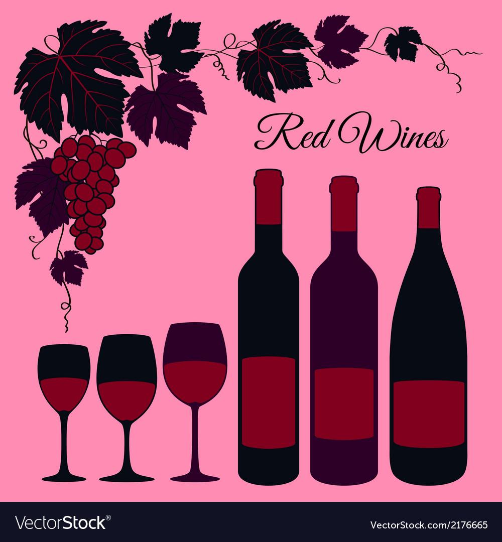 Red wine set vector image