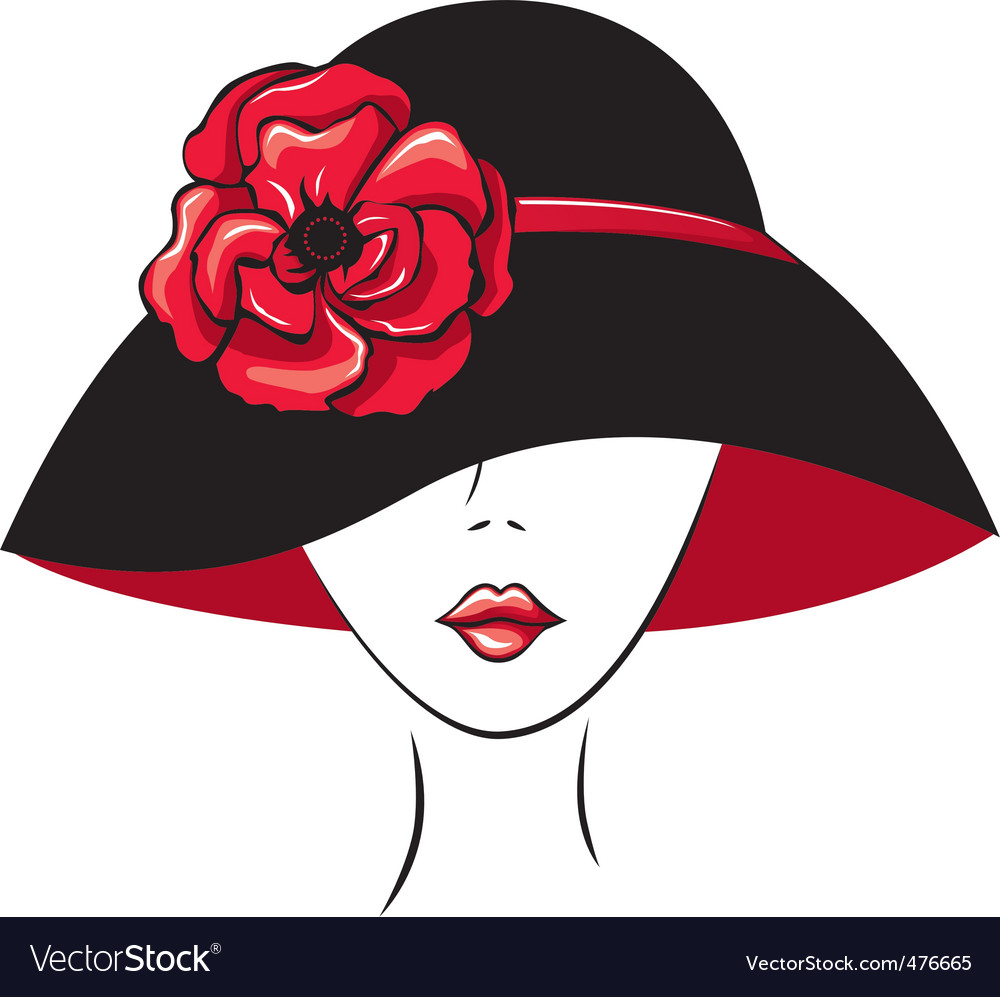 Woman in vintage hat vector image