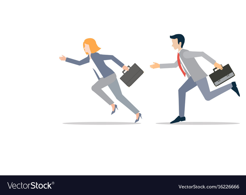 Business man and business woman in rush competing vector image