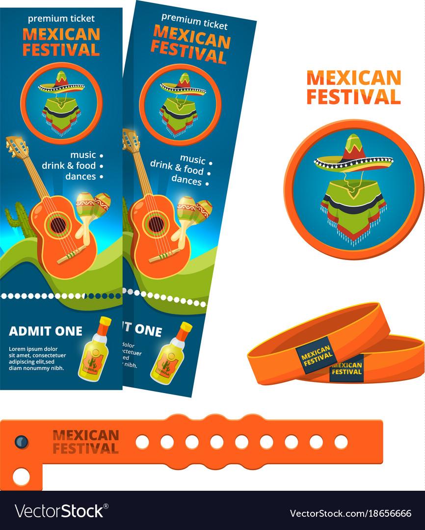 Design template for ticket and entrance bracelet vector image