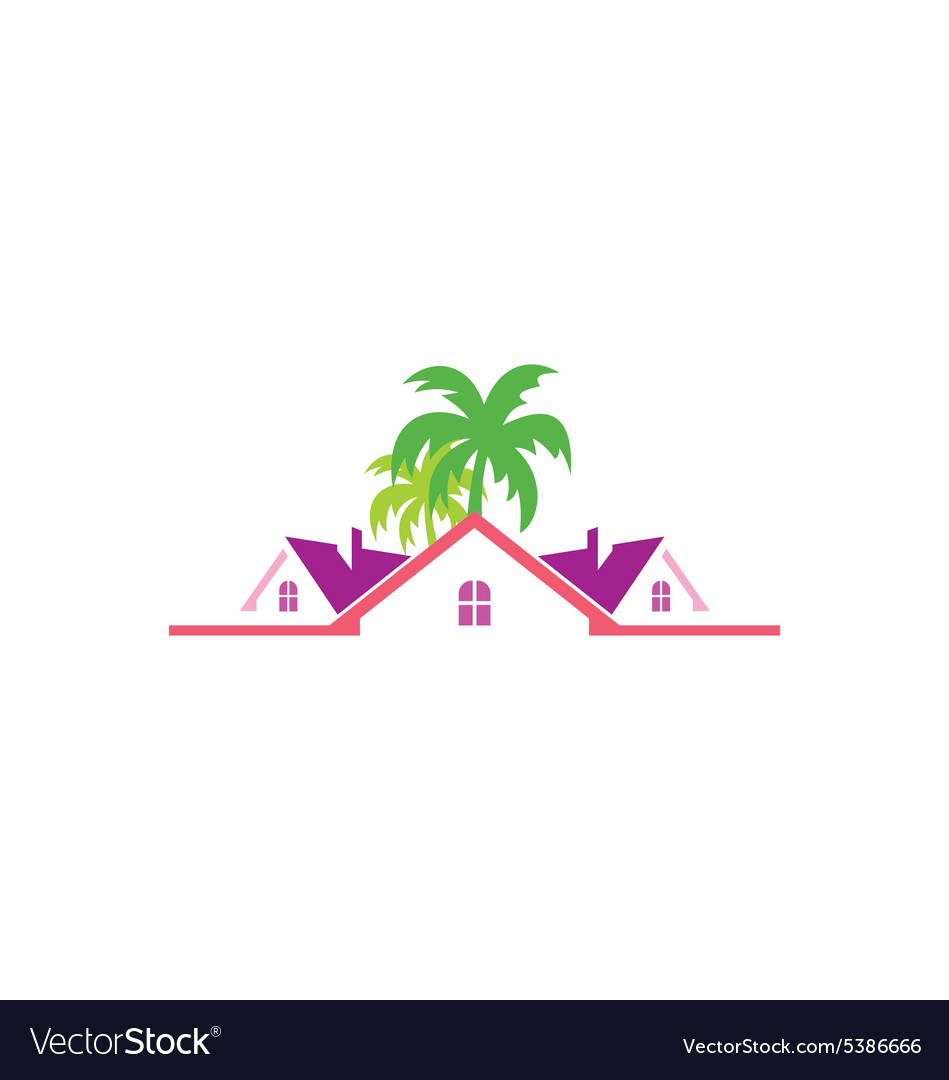 Tropical Cottage House Travel Logo Vector Image