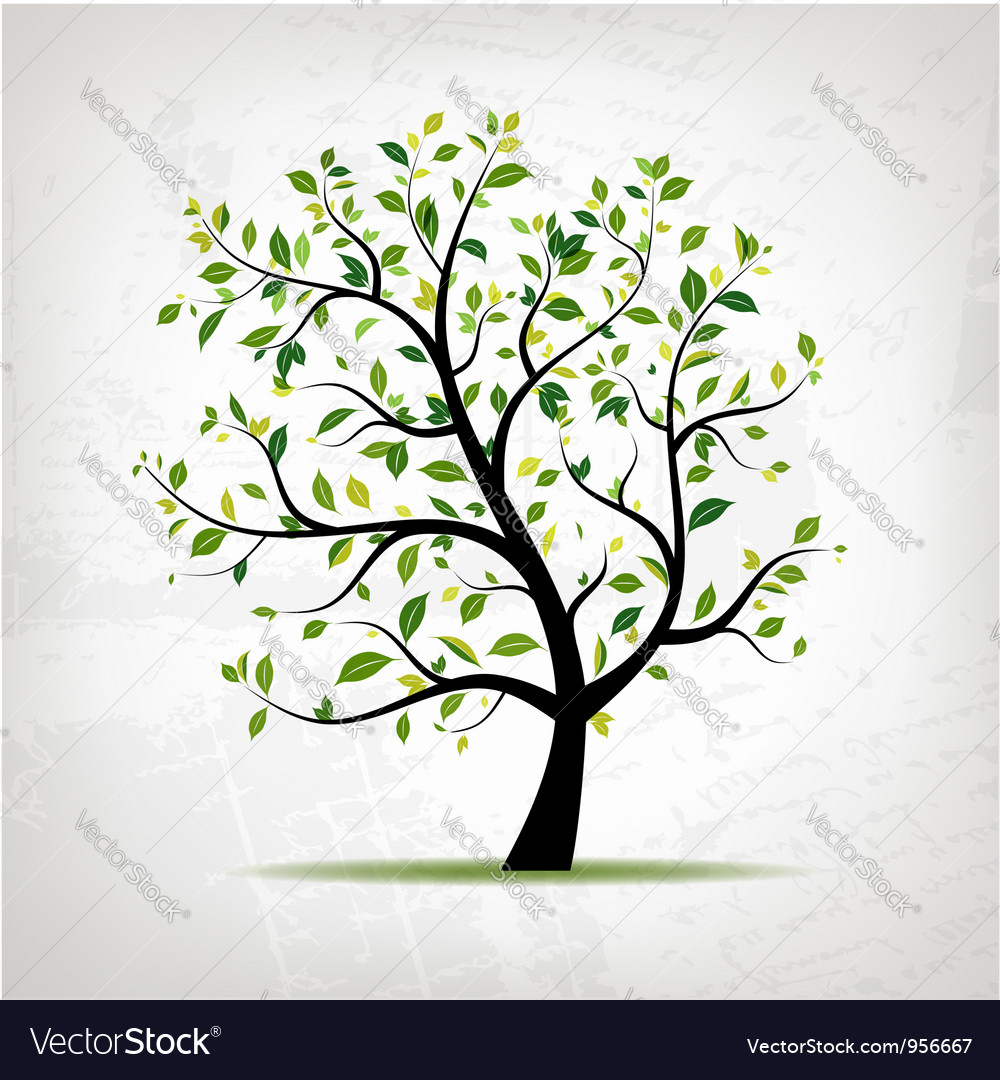 Spring tree green on grunge background Vector Image