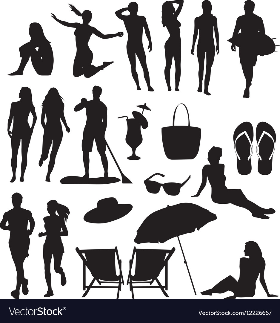 Beach-silhouettes vector image