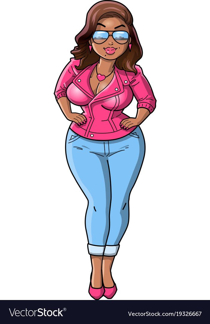 Sexy black curvy bbw woman cartoon pink leather vector image