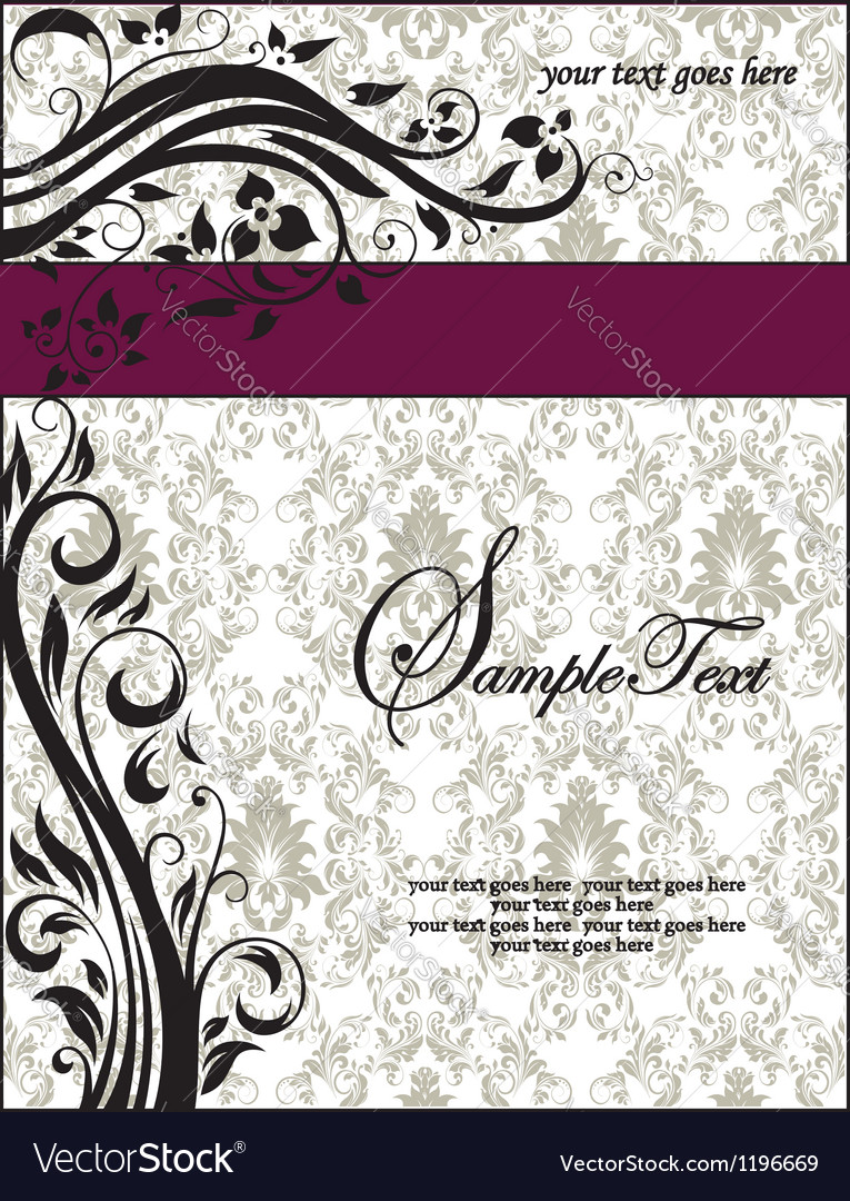 Purple Swirls Frame Wedding Invitation Royalty Free Vector