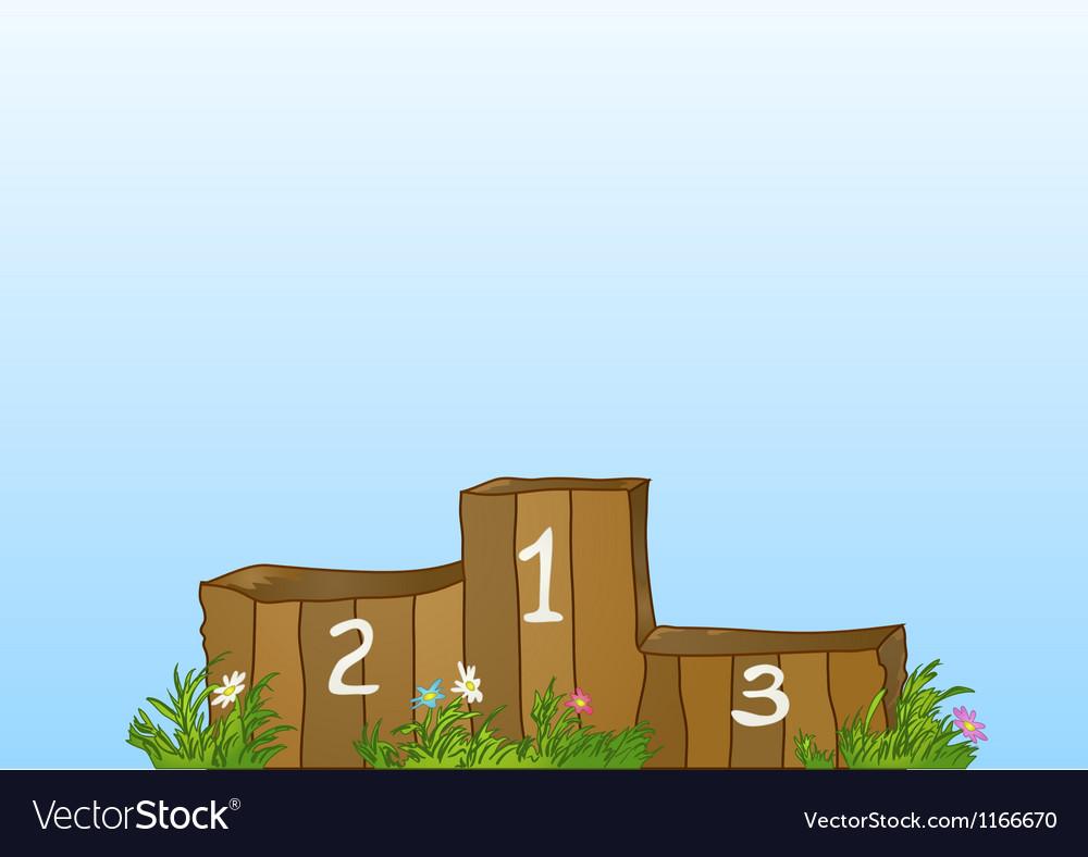 Winner sports wooden podium vector image