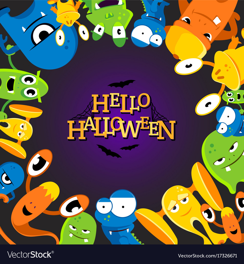 Cute cartoon halloween background with funny vector image