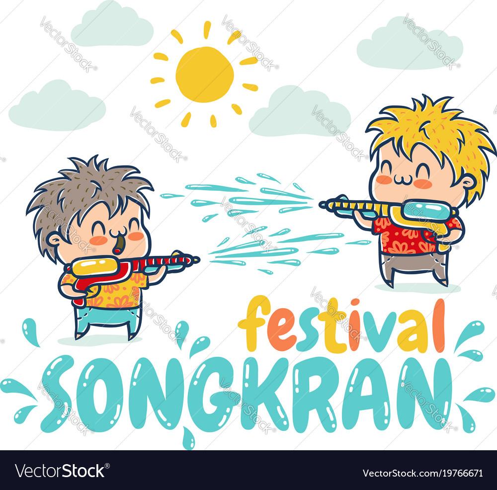 Songkran water festival in thailand vector image