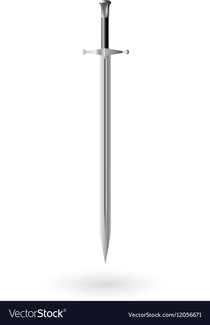 Steel sword on white vector image