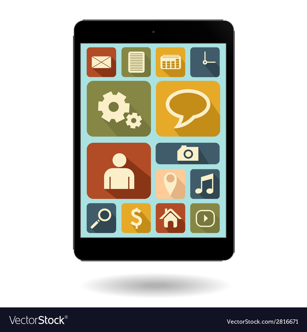 Tablet with vintage icon vector image