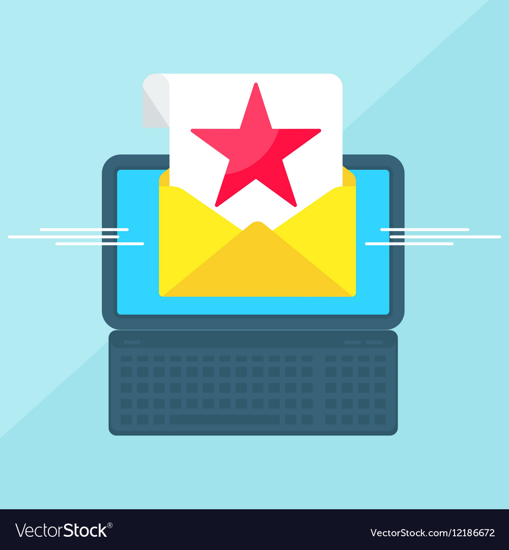 Laptop with envelope red star vector image