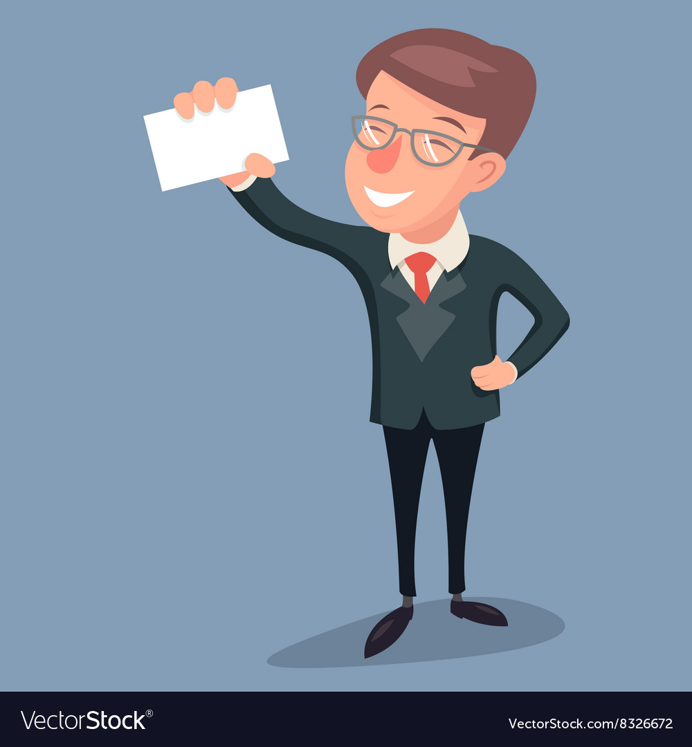 Vintage Businessman Character Hand Presentation vector image