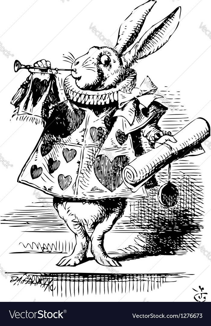 White Rabbit Herald vector image
