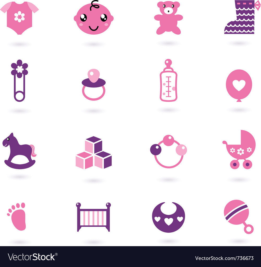 Baby girl icons vector image