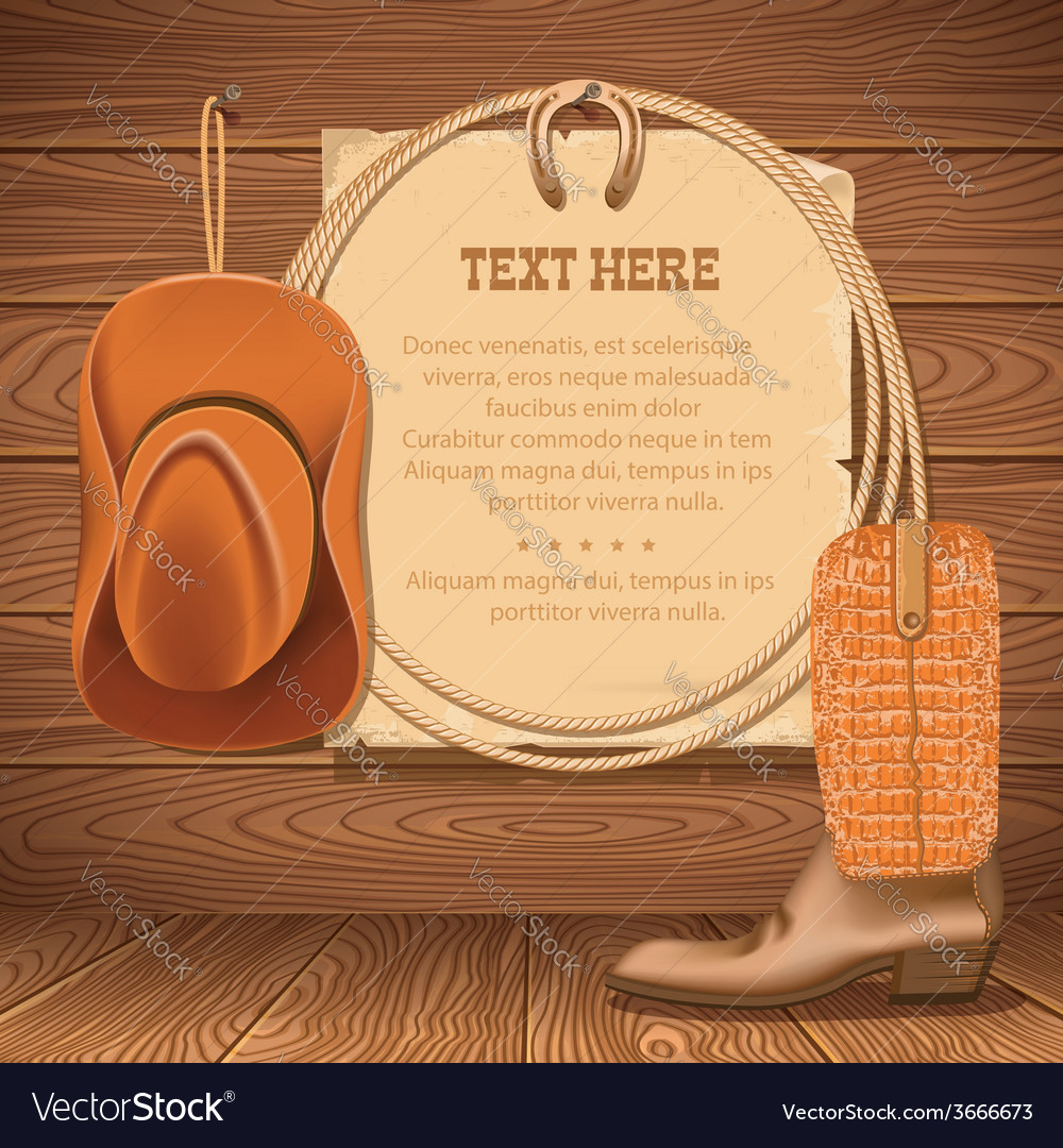 Cowboy hat and american lasso old paper for text vector image