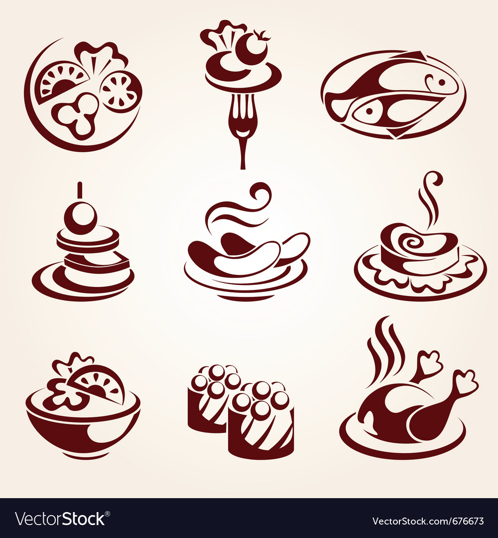 Food elements set vector image