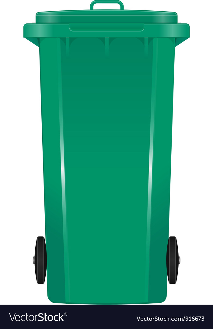 Green garbage bin vector image