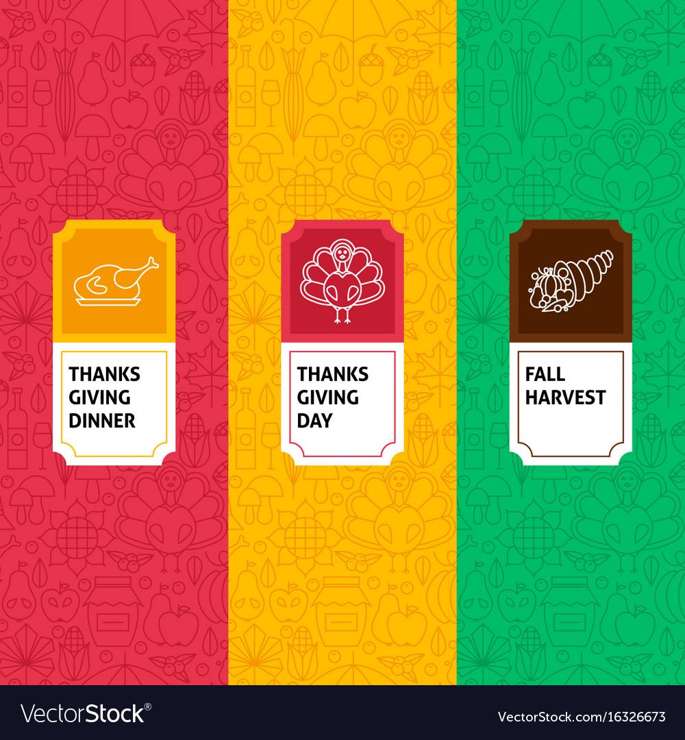 Line thanksgiving patterns set vector image