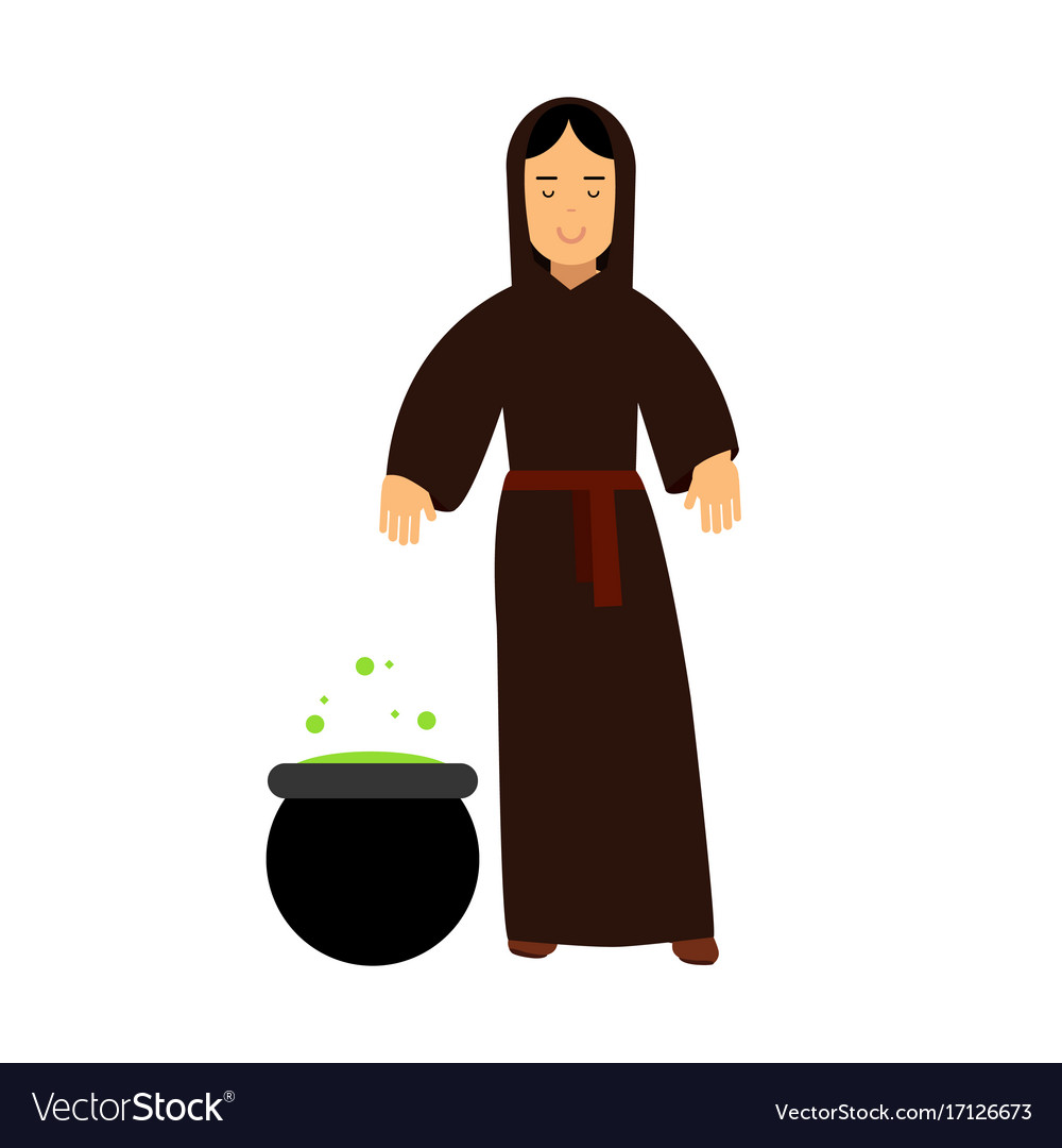 Young witch in black dress cooking potion vector image