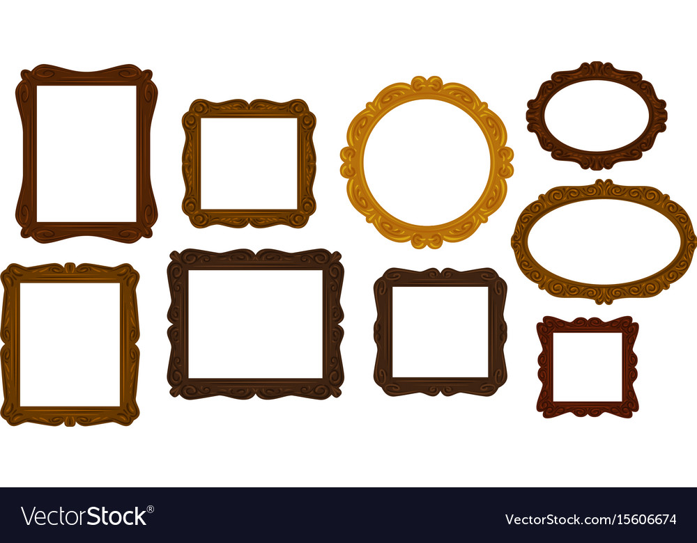 Collection of vintage wooden picture frames vector image
