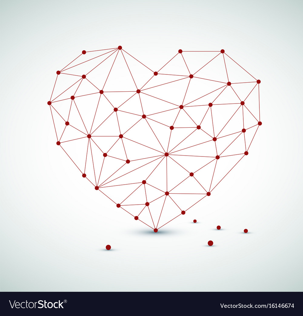 Modern heart made from triangles vector image