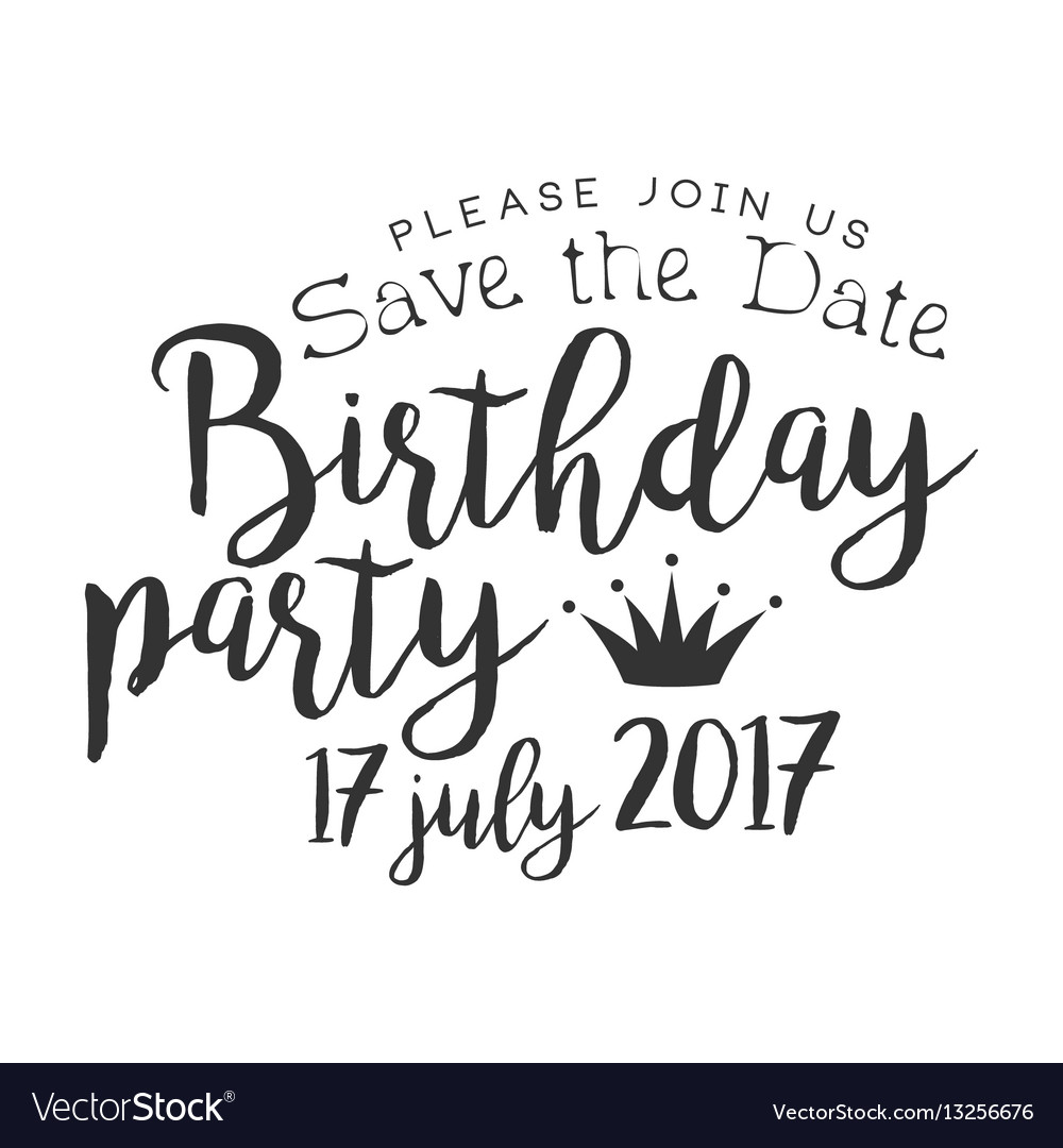 Birthday party black and white invitation card vector image