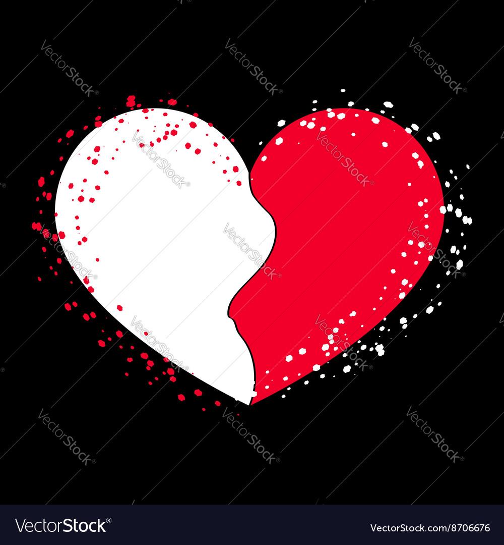 Halves heart icon on black 2 vector image