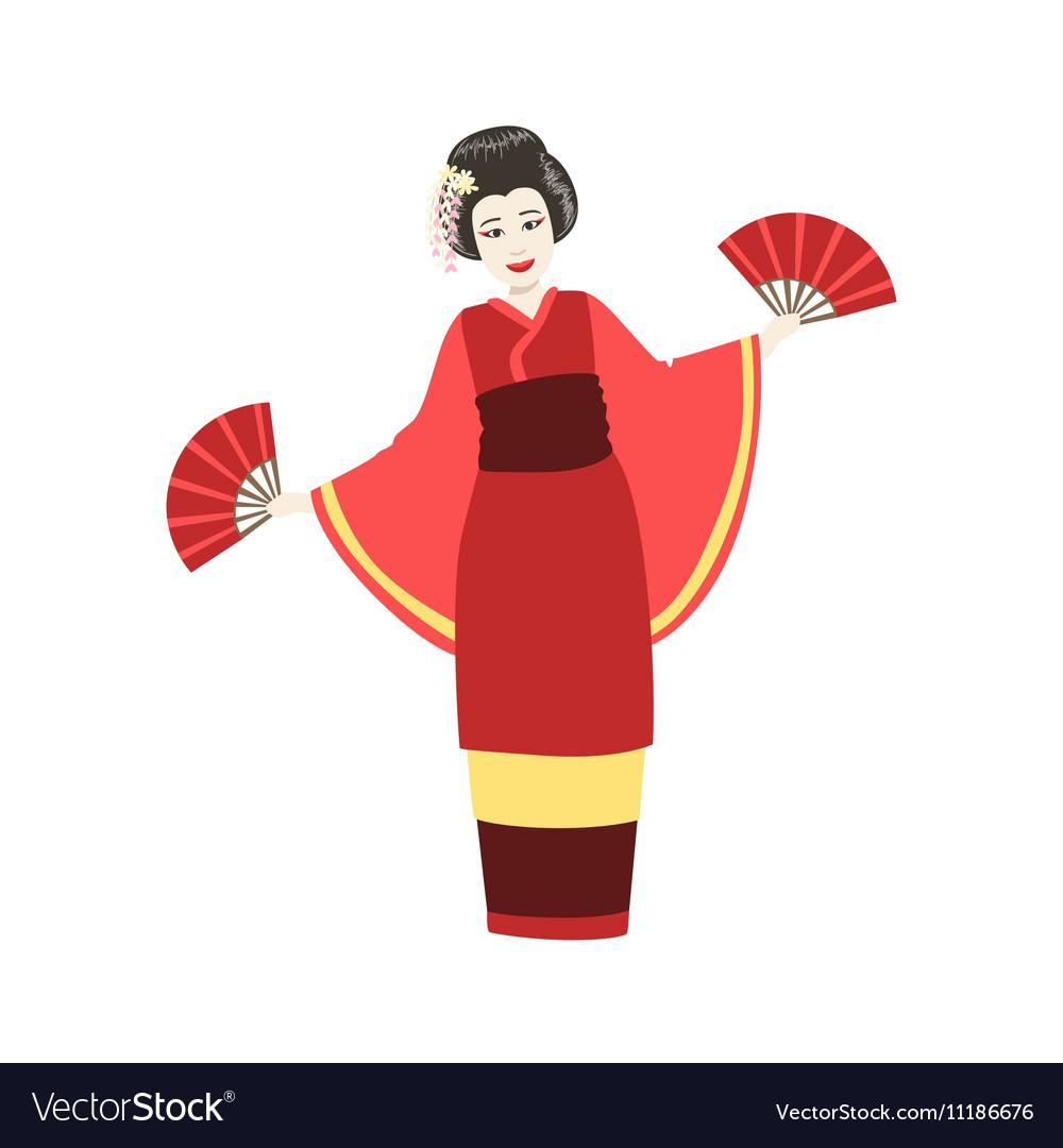 Japanese Geisha Doing Fan Dance vector image