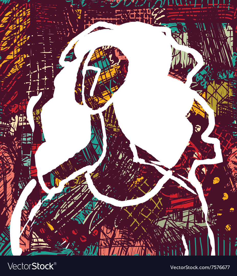 Abstract young woman and art background sketch vector image