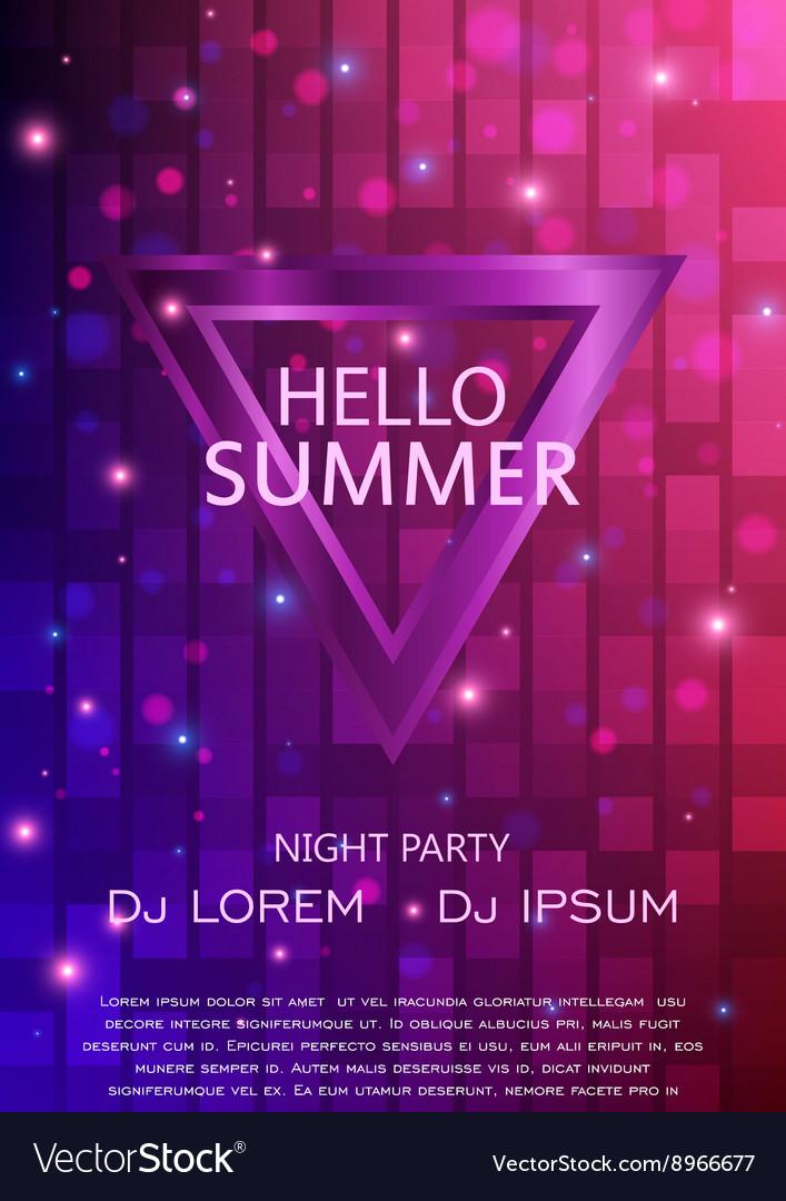Club Party Flyer Hello Summer Party Flyer A4 vector image