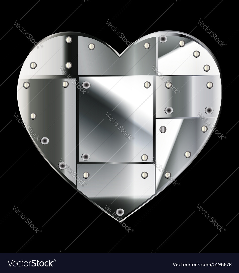 Steel heart vector image