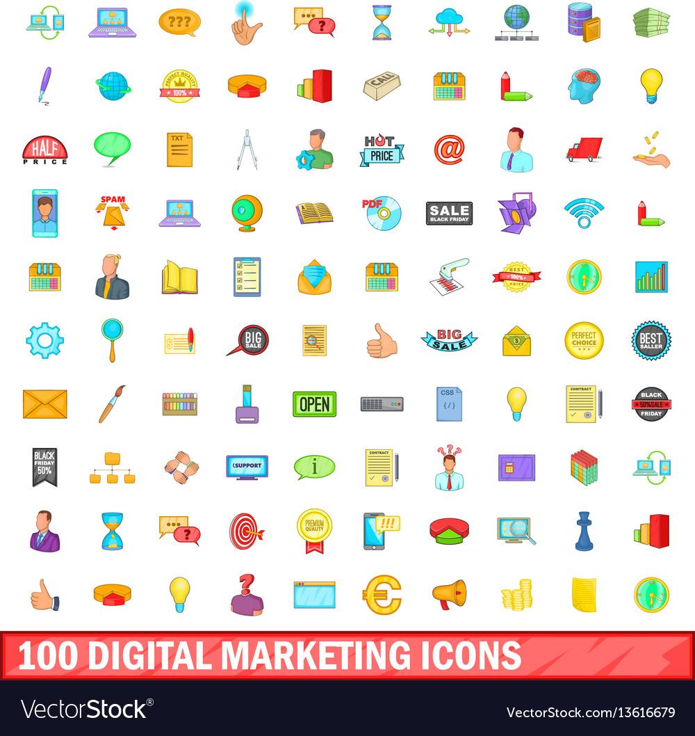 100 digital marketing icons set cartoon style vector image