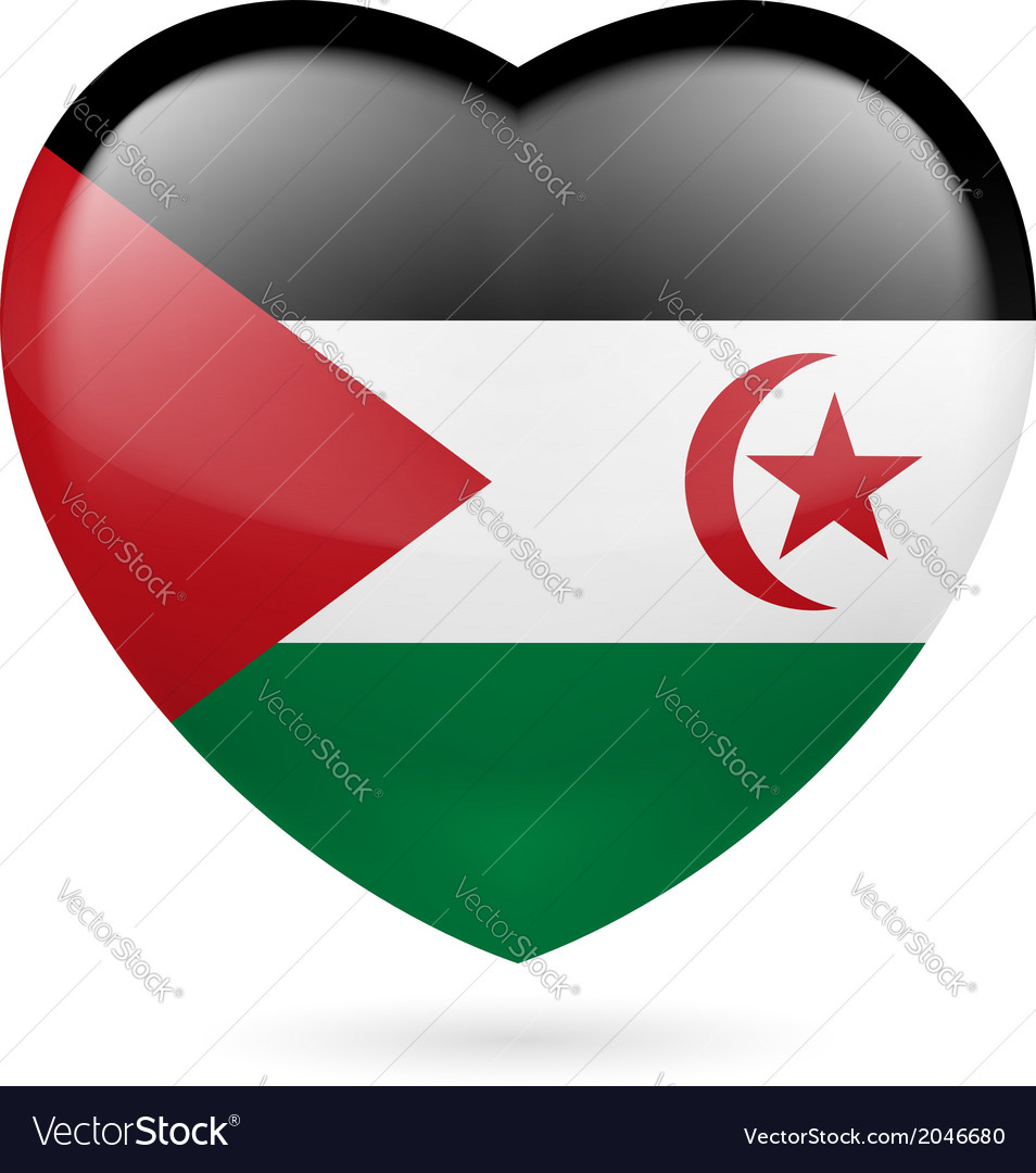 Heart icon of Sahrawi Arab Democratic Republic vector image