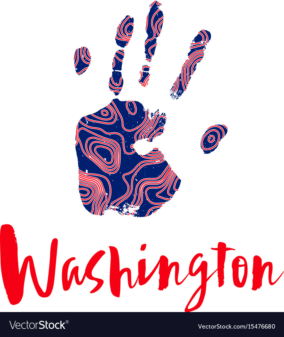 Red-and-blue silhouette of a human hand vector image
