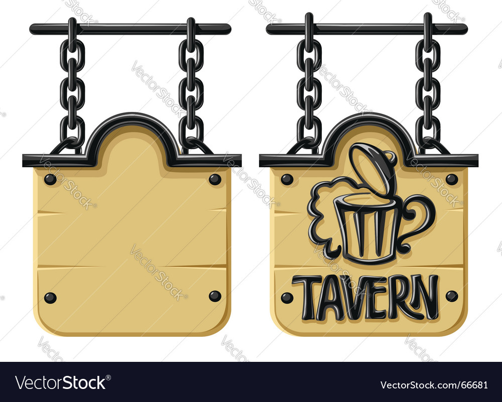 Old wooden sign vector image