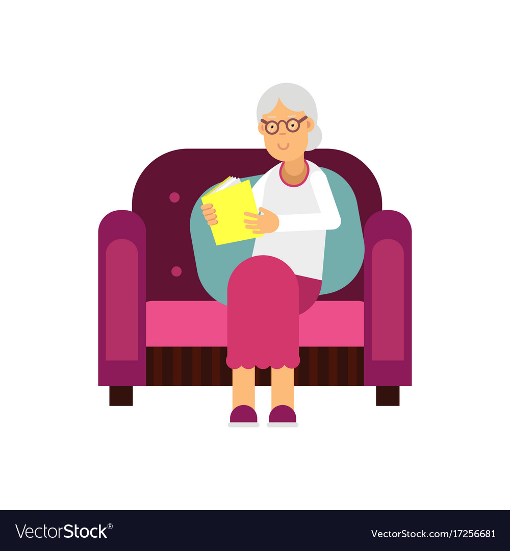 Senior woman character sitting on the sofa and vector image