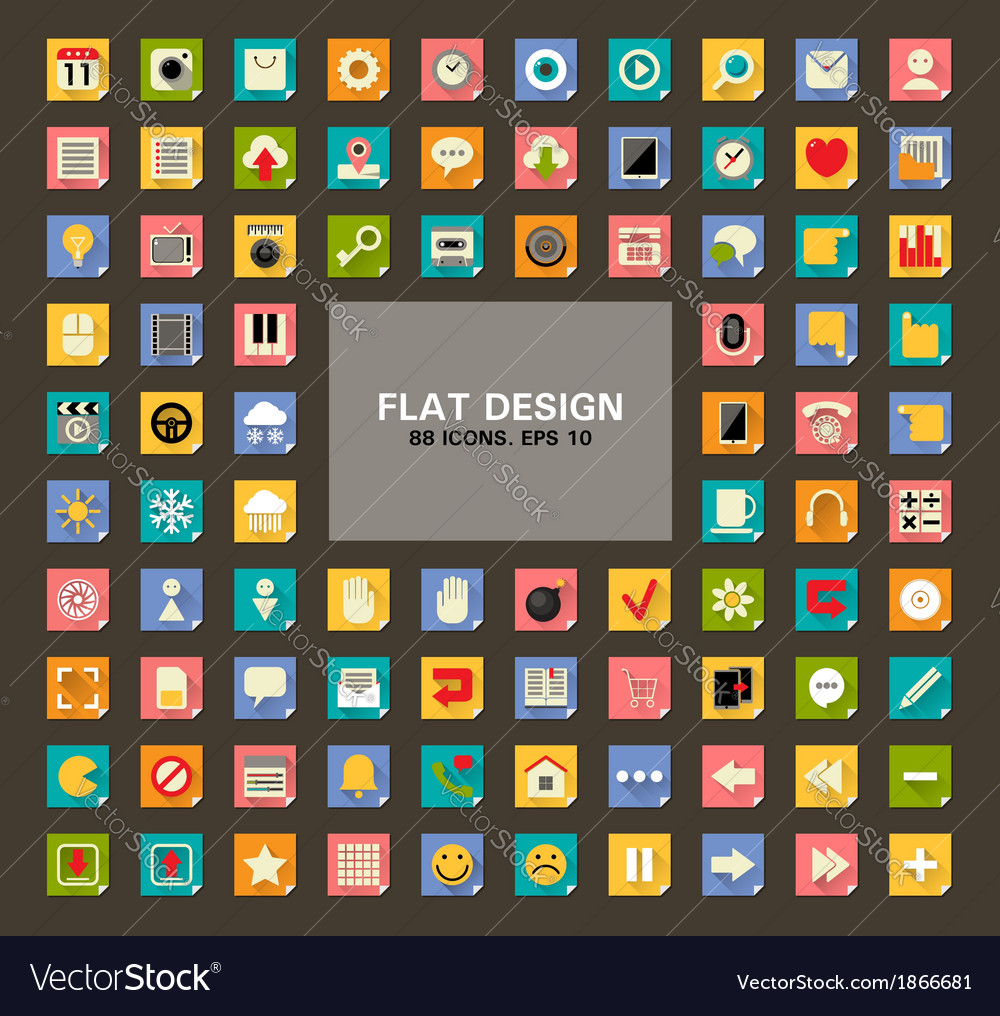 Set of 88 Universal Flat Web and Mobile Icons with vector image