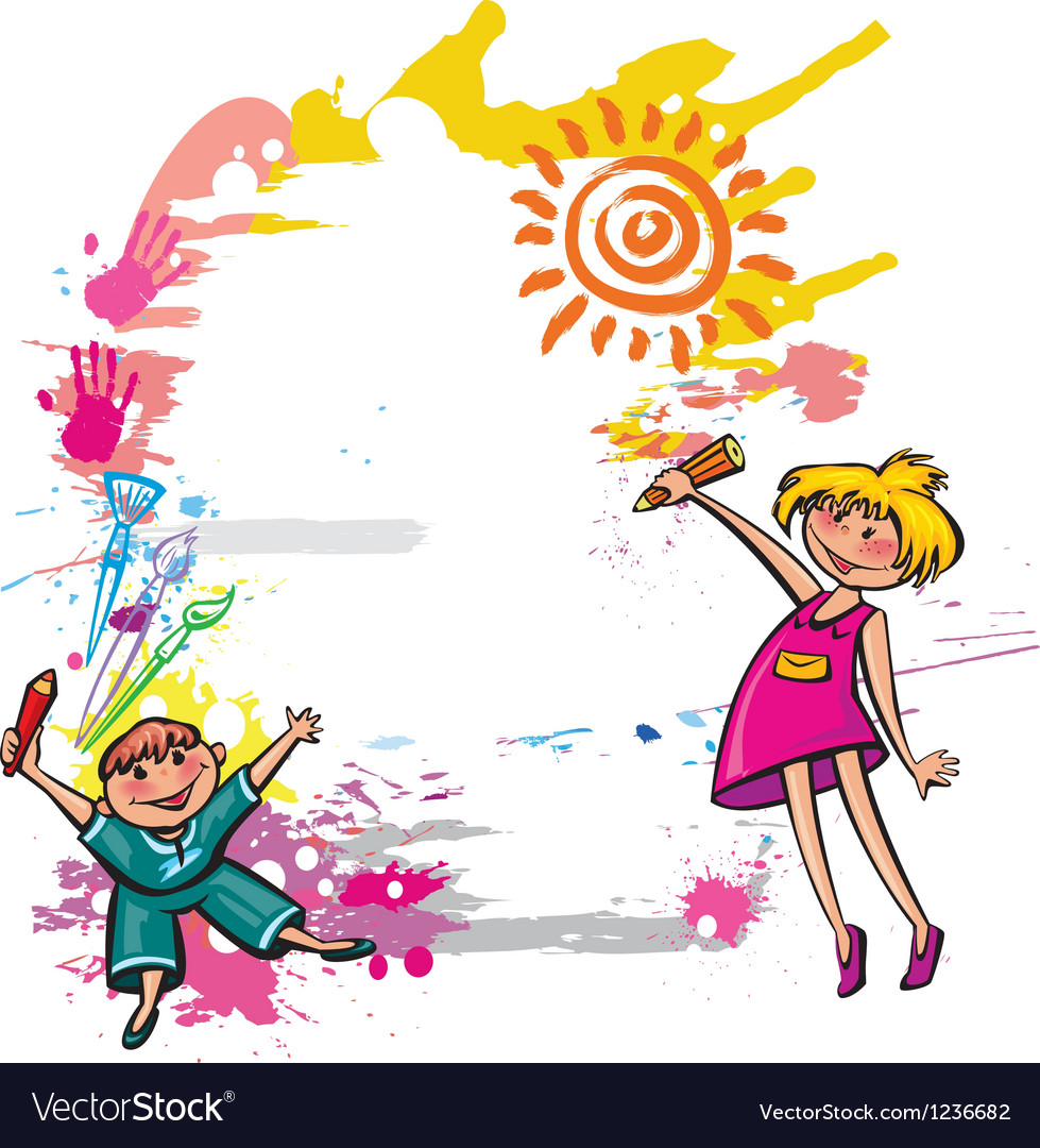 Children with space for text Vector Image
