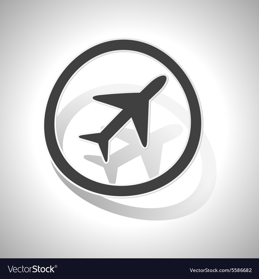 Curved plane sign icon vector image