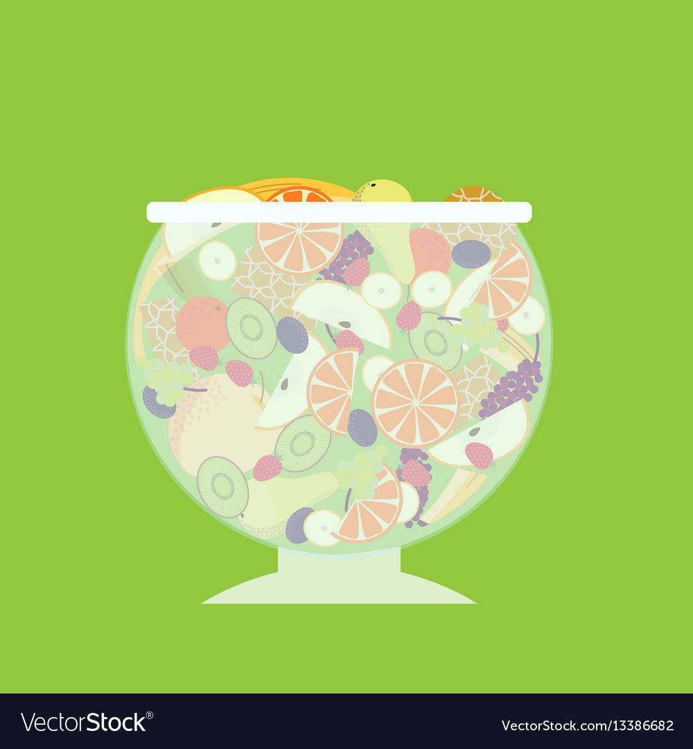 Flat fruit salad template vector image