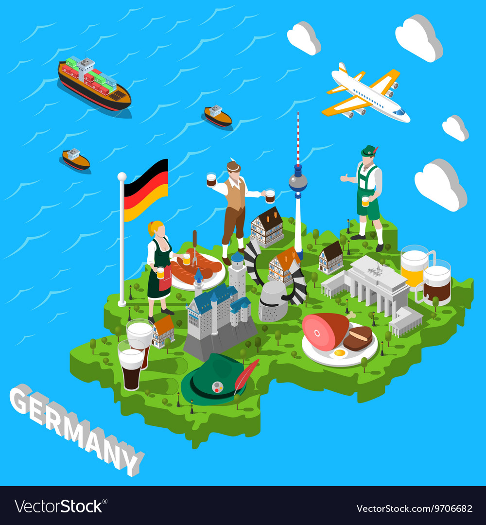 Germany Isometric Sightseeing Map For Tourists Vector Image - Germany map cartoon